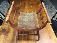 Antique Vintage Wood Curved Foot Stool Child'S Bench Seat Rare Nice Piece