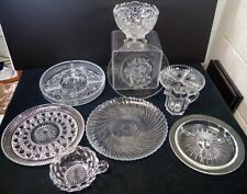 (9) vtg crystal & glass divided snack condiment trays bowls platters creamer