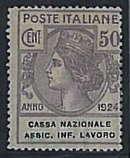 Varietà  ITALIA REGNO:  francobollo PARASTATALI con piccola Varietà