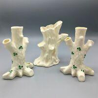 Set of 3 Vintage Belleek Tree Shape Porcelain Vases with Green Shamrock