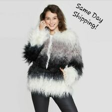 NEW! Women's Faux Fur Cozy Ombre Jacket Shaggy Furry Warm Fluffy Dressy Coat S