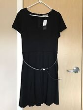 BANANA REPUBLIC Black Dress Knit Godet Skirt Carer Cocktail Size 16 $128.00