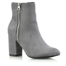 Womens Mid High Heel Ankle Boots Ladies Casual Party Zip Biker Shoes Booties 3-8