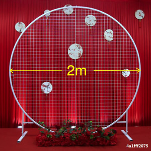 Wedding White Round Circle Mesh Flower Display Stand Arch Background Backdrop A1