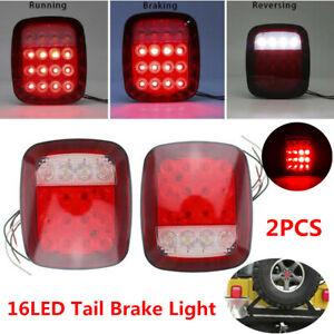 2PCS 16LED Stop Tail Brake Light Rear Turn Reverse Running Lamp For Jeep Trailer