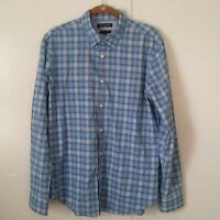 Banana Republic Grant Fit Blue Plaid Long Sleeve Men Shirt Size Large