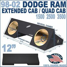 "DODGE RAM 98-02 EXT EXTENDED CAB 12"" SUB BOX SUBWOOFER ENCLOSURE GROUND-SHAKER"