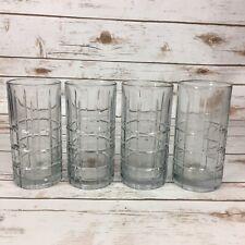 Set of 4 Anchor Hocking Tartan Clear Flat Iced Tea Glasses Tumblers 16 Ounce