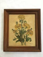 Vintage Floral Art Flowers Bouquet Yellow Print Chunky Frame BOUCER 13 x 15