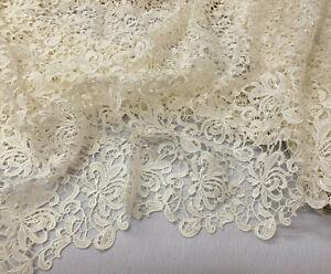 Ivory cream Guipure border edge lace wedding dressmaking craft fabric