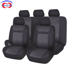 Jacquard Car Seat Covers Universal Airbag Compatible Van Black 11 pcs Full set