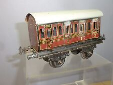 VINTAGE BING  '0' TIN-PLATE MODEL LMS 4 WHEEL COMPOSITE COACH WITH OPENING DOORS