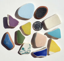 Genuine Nova Scotia Beach Sea Glass - 12 Large Colorful Ceramics / Pottery