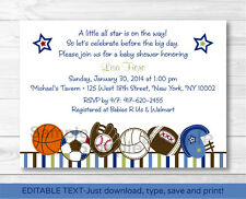 Sports All Star Play Ball Printable Baby Shower Invitation Editable PDF