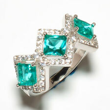Silver Jewelry Ring s.9.5 R632-7-9 Burmese Neon Apatite,White Topaz 925 Sterling