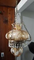 Vintage 2 tier Double Bulb Hanging Hurricane Lamp Gone With the Wind Swag MCM