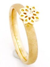 "9ct Yellow Gold ""Spinning""  CZ Set Flowers Stackable Ring 2mm Thick NOT PLATED"