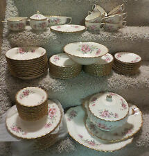 Antique 22K Gold Limoges Wild Rose Set of Dishes; Nearly Complete Service for 12