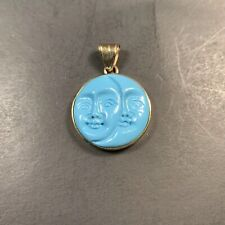 Vintage 14k Gold Sleeping Beauty Turquoise Moon Face Pendant