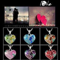 New Fashion Heart Flower Crystal Rhinestone Silver Charm Chain Necklace Pendant
