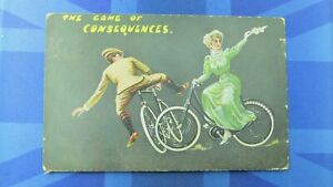 Vintage Comic Postcard 1909 Ladies Gent Bicycle Cycling Suffragette CONSEQUENCES