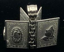 14k White Gold Religious Holy Bible Charm Pendant with Written Pages Inside 3.4g