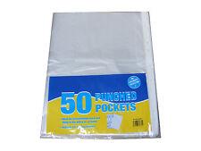 50 Pack A4 ponche perforados de plástico transparente bolsillos carpeta de presentación Mangas Billeteras