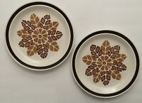 "VTG Nikko Stoneware ""Arrowhead"" lot of 2 Dinner Plates HTF 1970s earthtone Aztec"