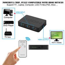 3Port HDMI Switch Switcher Hub with Remote Control Splitter Box 1080p Full HD 3D