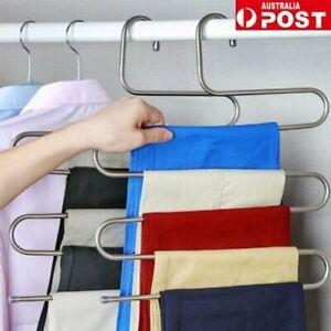 5 Layer Clothes Hanger Pants Ties Trouser Space Saving Organizer Scarf Rack BZ