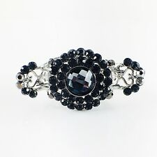 USA Hair Claw Clip Hairpin Rhinestone Crystal Vintage Barrette Simple Black A16