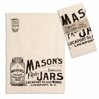"Primitive Farmhouse Chic MASON JAR Tea Dish Hand Towel COTTON 20"" x 28"" Kitchen"