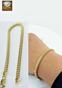 "10k Yellow Gold Franco Bracelet 4mm 8"" Inch Mens Women  Rope Cuban Link"