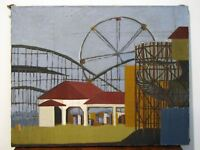 AMERICAN MODERNIST OIL PAINTING - AMUSEMENT PARK - FERRIS WHEEL - ROLLER COASTER