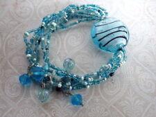 Armband blau Glasperlen elastisch elastik boho blogger hjippie Bangle aqua