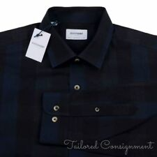 NWT - DUCHAMP Blue Shadow Plaid 100% Cotton Tailored Fit Mens Dress Shirt - 16.5