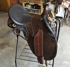 "NEW 16"" Australian Saddle - Stockman Bush Rider - Dark Oil-With Horn-Wide Tree"