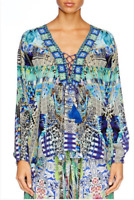 new CAMILLA FRANKS SILK SWAROVSKI LEAVE ME WILD LACE UP LACE UP TOP KAFTAN
