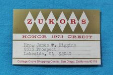 Zukors Quality Apparel College Grove, San Diego Honor Credit Card 1973 - Expired