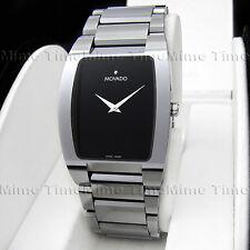 Men's Movado FIERO Tungsten Carbide Rectangular Black Dial Swiss Watch 0605621