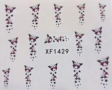 Arte De Uñas Rosa Negra Mariposa Shooting stars de transferencia de Agua Decal Sticker 1429