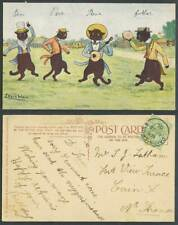 More details for louis wain artist signed, black cats kittens dancing & singing 1906 old postcard
