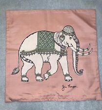 New Jim Thompson Thai Silk Pink/Gray Elephant Throw Pillow Cover 15¾