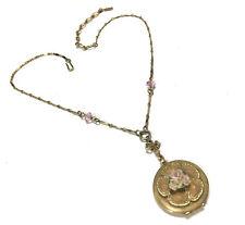 Lovely VTG Estate 1928 Brand VICTORIAN LOCKET Necklace W FLOWER Gold Tone G478i