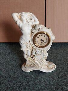 VINTAGE 1890s ART NOUVEAU FIGURAL METAL CLOCK