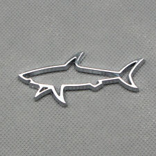 Chrome Metal Silver Fin Shark Parts Side Fender Car Emblem Auto Trunk Badge