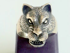 925 Sterling Silver Artisan Men's Ring with Absolutely Handmade Tiger
