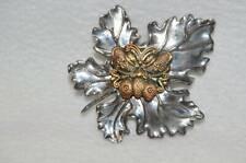 Brooch Butterfly on Leaf Neiman Marcus Sylvia Dahl Silvertone Floral Scarf Clip