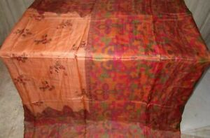 Brown Peach Pure Silk 4 yd Vintage Sari Saree measurement highest savings #6QGZV