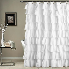 Shower Curtain Ruffled Bathrooms Decorations Plain Waterproof Corrugated Edge